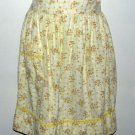 Vintage Cotton Half Apron Yellow with Mini Roses Handmade