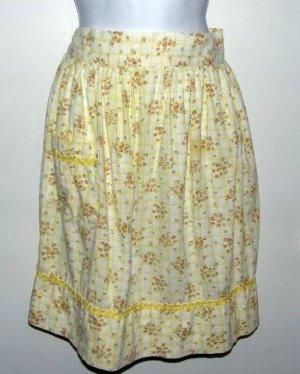 Vintage Cotton Half Apron Yellow with Mini Roses Handmade