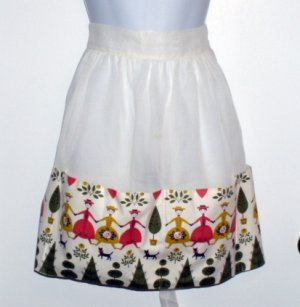 Vintage Half Apron Sheer White with Ladies & Cats