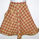 Vintage Handmade Half Apron Brown Red Gold White