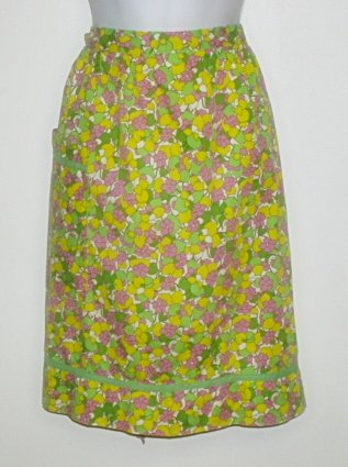 Vintage Half Apron Handmade Pink Yellow Green Floral