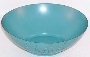 Retro 1950's Metal Tole Toleware Centerpiece Aqua Turquoise Bowl by Florence Thomas California
