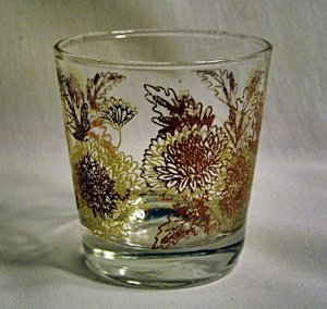 Vintage Cocktail Old Fashion High Ball Glass 1950's Retro Rust and Brown Flowers