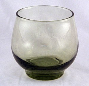 1960's Vintage Retro Green Libbey Roly Poly Glass Tumbler Glasses Tumblers Set of 4