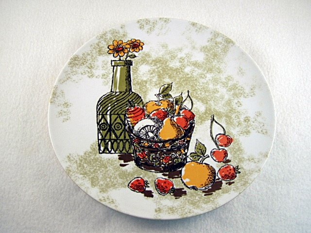4 Texas Ware Texasware Melmac Melamine Dinner Plate Plates Wine Bottle Fruit