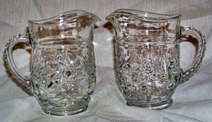 Anchor Hocking EAPC Early American Prescut Small Milk Cream Pitcher Pitchers set of 2