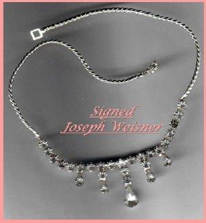Signed JOSEPH WEISNER Necklace-Rhinestones-Beautiful