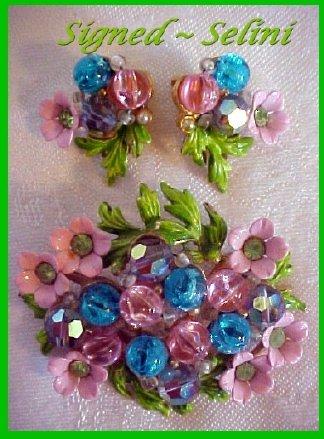 SELINI Floral DEMI PARURE-Pinks / Blues-Flower Garden