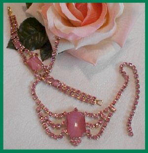 FABULOUS Baby Pink DEMI PARURE-Rhinestone / Cat's Eye
