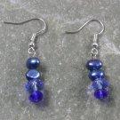 Blue Quartz & Fresh Water Pearl Sterling SILVER EARRINGS