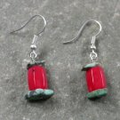 RED CORAL & TURQUOISE STERLING SILVER EARRINGS