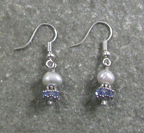 QUARTZ & FRESH WATER PEARL STERLING SILVER EARRINGS