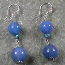 Blue Agate Pearl STERLING SILVER EARRINGS