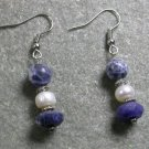 Sodalite Pearl STERLING SILVER EARRINGS