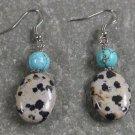 Dalmatian Jasper Turquoise Sterling Silver Earrings