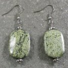 Green Lace Stone Sterling Silver Earrings