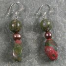 Unakite Pearl Sterling Silver Earrings