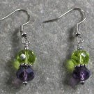 Green and purple Quartz Sterling Silver Earrings