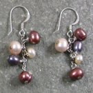 Multi-color Fresh Water Pearl Sterling Silver Earrings