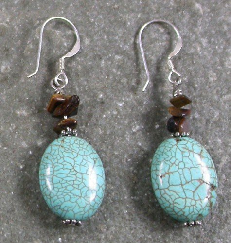 Tiger Eye Turquoise Sterling Silver Earrings