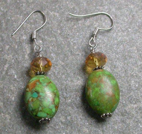 Quartz Turquoise Sterling Silver Earrings