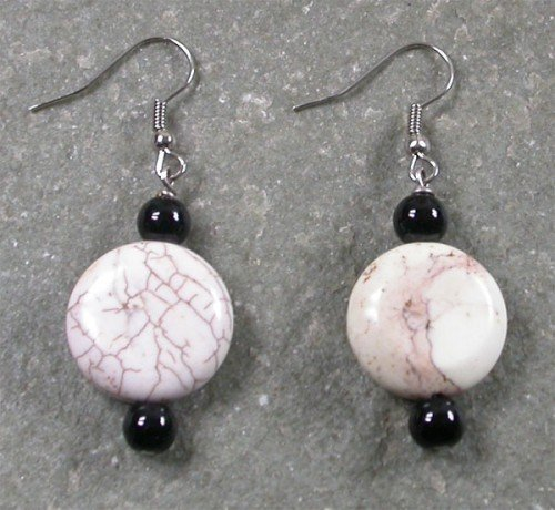 Black Agate White Turquoise Sterling Silver Earrings