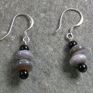 Stripe Agate Black Agate Sterling Silver Earrings