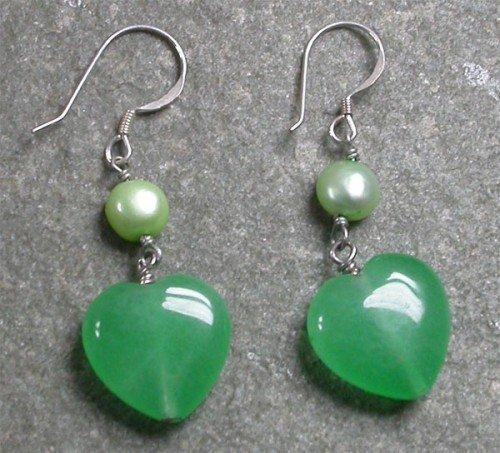 Green Jade Pearl Sterling Silver Earrings