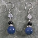 Blue and Black Agate Sterling Silver Earrings
