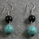 Black Agate Turquoise Sterling Silver Earrings