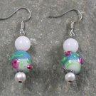 Jade Lampwork Pearl Sterling Silver Earrings
