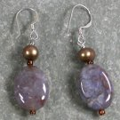 Crazy Agate Pearl Sterling Silver Earrings