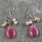 Cat Eye Quartz Pearl Sterling Silver Earrings