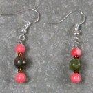 Unakite Pink Coral Sterling Silver Earrings