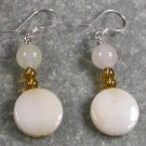 Yellow Jade Sterling Silver Earrings