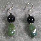 Black Agate Fancy Jasper Sterling Silver Earrings