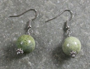 Green Coral Sterling Silver Earrings