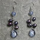 Agate Quartz Pearl Sterling Silver Earrings