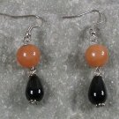 Black Agate Honey Jade Sterling Silver Earrings