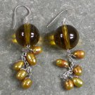 Yellow Crystal Pearl Sterling Silver Earrings