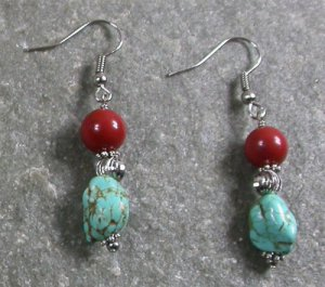 Turquoise Breciated Jasper Sterling Silver Earrings