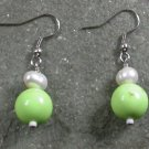 Gaspeite Pearl Sterling Silver Earrings
