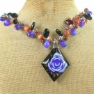 FLOWER LAMPWORK AGATE CAT EYE PEARLS NECKLACE