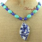 MING DYNASTY POTTERY SHARD TURQUOISE JADE NECKLACE