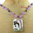 MING DYNASTY POTTERY SHARD PURPLE JADE AGATE NECKLACE