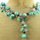 TURQUOISE BLUE JADE BLACK AGATE PEARLS NECKLACE