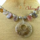 FIRE AGATE & LACE AGATE & CRYSTAL NECKLACE