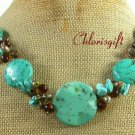 TURQUOISE BROWN JASPER CRYSTAL PEARLS NECKLACE