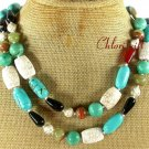 LONG! 40 TURQUOISE BLACK AGATE STRIPE JADE NECKLACE