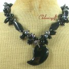 BLACK AGATE & FRESH WATER PEARLS NECKLACE